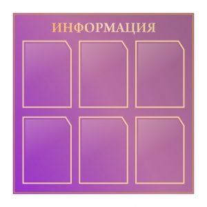 Стенд Информация пурпурный 6 карманов А4