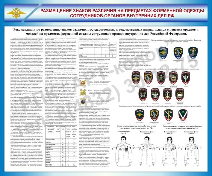 Размещение знаков различия на предметах форменной одежды сотрудников органов внутренних дел РФ