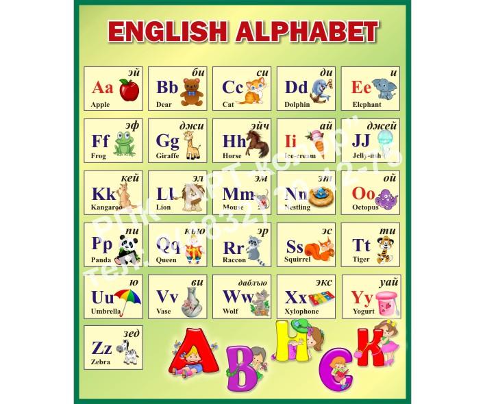 Английский алфавит зеленый