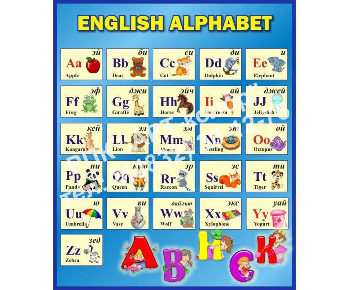 Английский алфавит синий