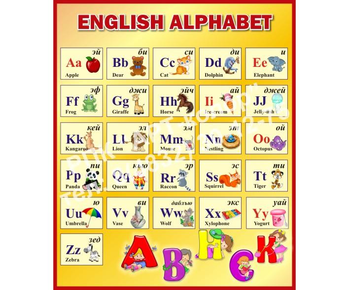 Английский алфавит желтый