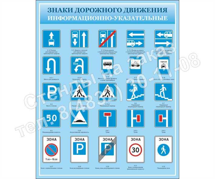 """""""Информационно-указательные знаки"""" стенд 1"""