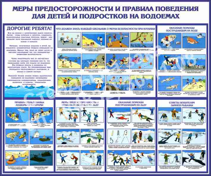 Меры предосторожности и правила поведения детей и подростков на водоемах